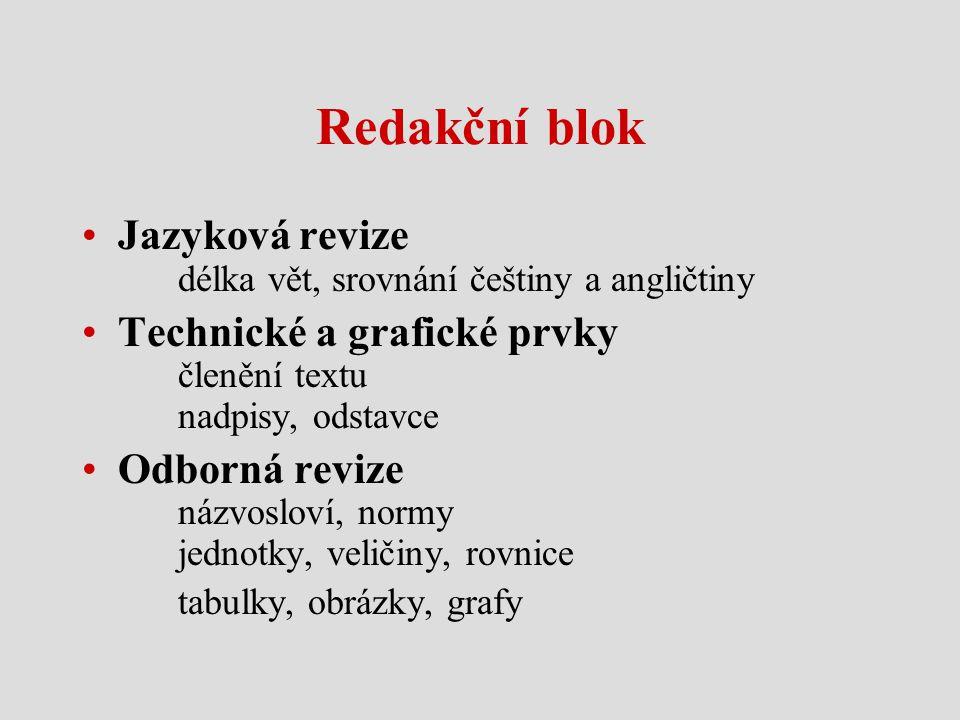 Redakční blok Jazyková revize délka vět, srovnání češtiny a angličtiny