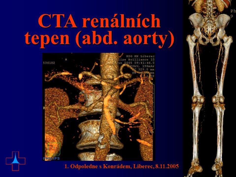 CTA renálních tepen (abd. aorty)