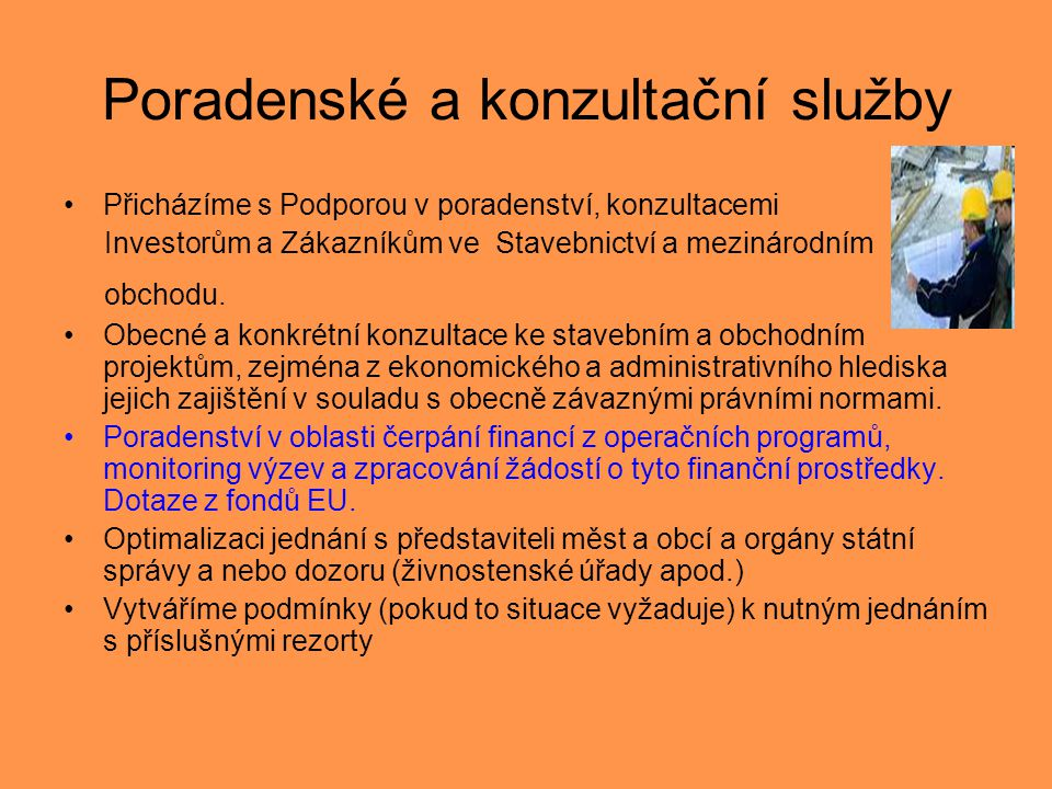 Poradenské a konzultační služby