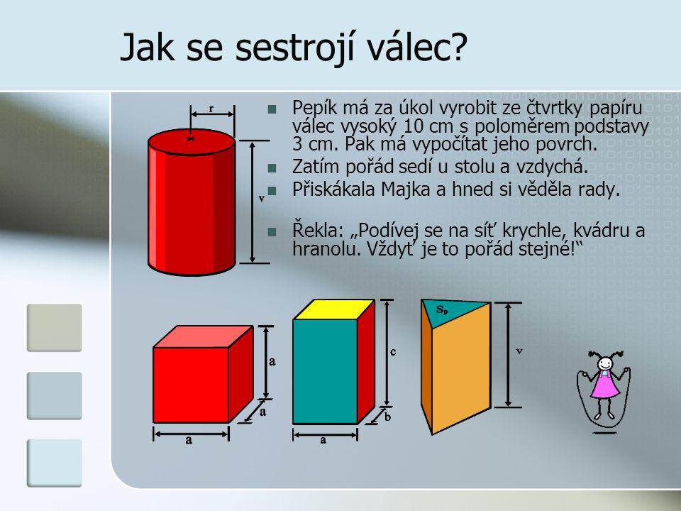 Jak se sestrojí válec Pepík má za úkol vyrobit ze čtvrtky papíru válec vysoký 10 cm s poloměrem podstavy 3 cm. Pak má vypočítat jeho povrch.