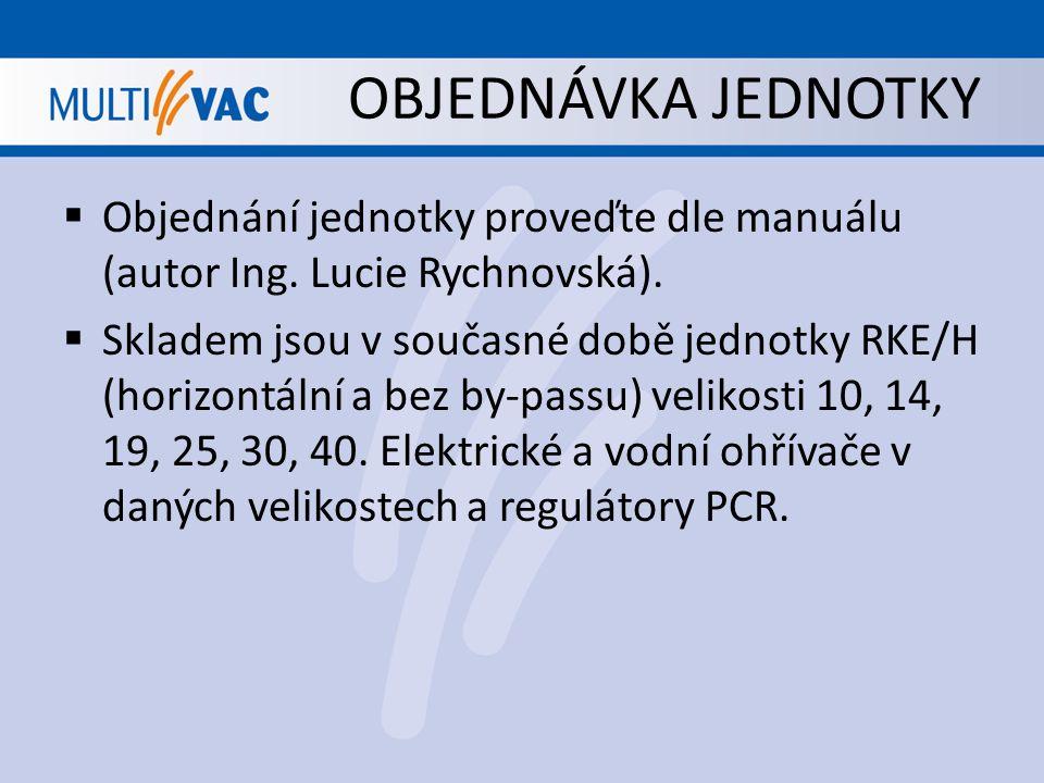 OBJEDNÁVKA JEDNOTKY Objednání jednotky proveďte dle manuálu (autor Ing. Lucie Rychnovská).