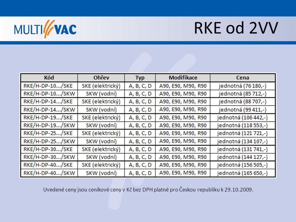 RKE od 2VV Uvedené ceny jsou ceníkové ceny v Kč bez DPH platné pro Českou republiku k 29.10.2009.