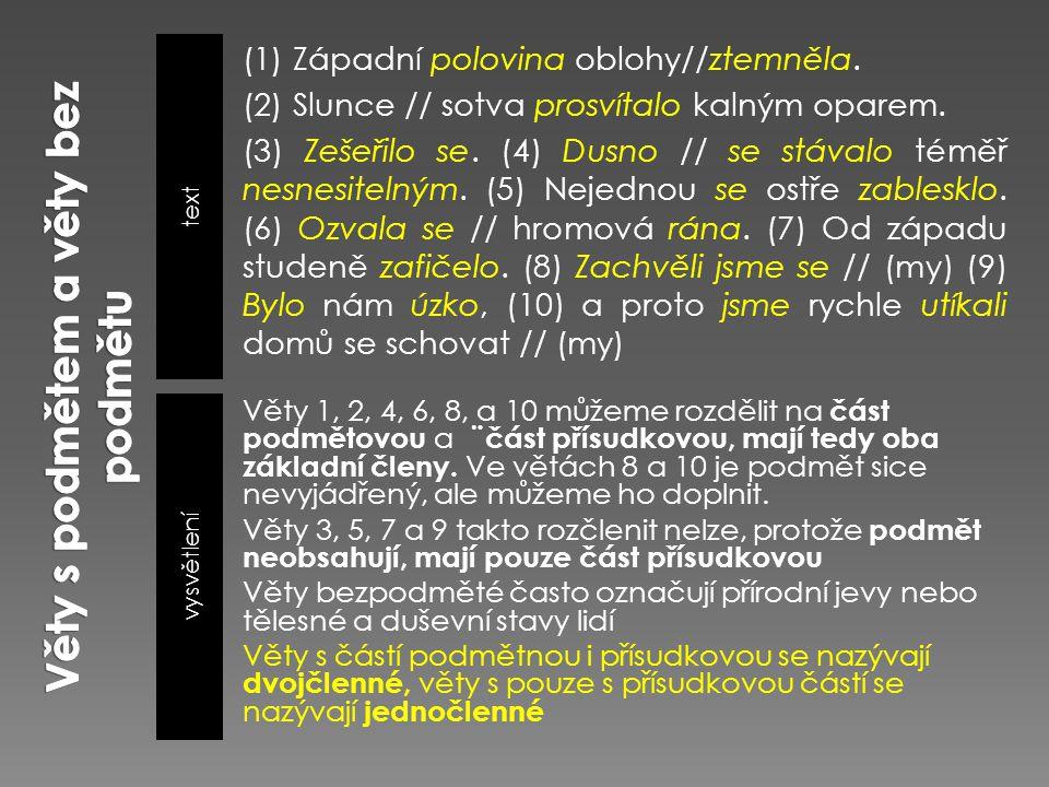Věty s podmětem a věty bez podmětu