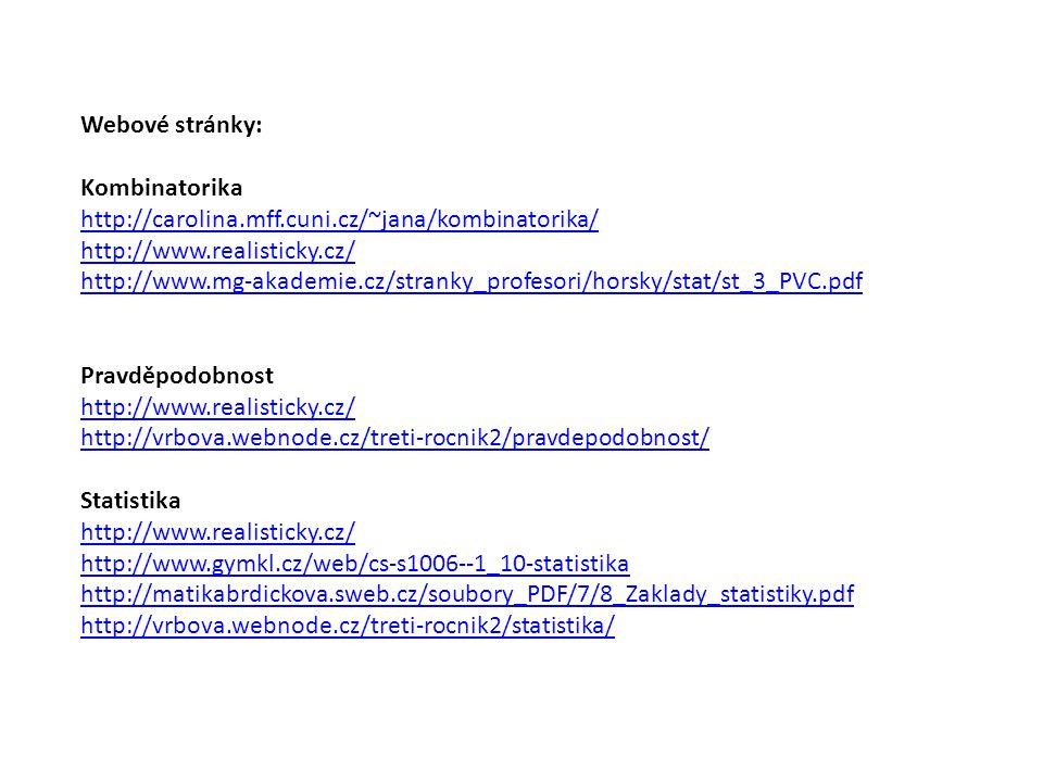 Webové stránky: Kombinatorika. http://carolina.mff.cuni.cz/~jana/kombinatorika/ http://www.realisticky.cz/
