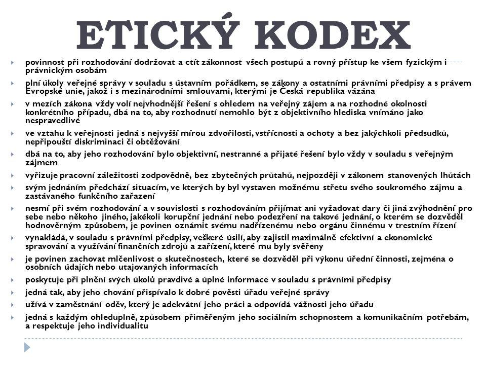 ETICKÝ KODEX povinnost při rozhodování dodržovat a ctít zákonnost všech postupů a rovný přístup ke všem fyzickým i právnickým osobám.