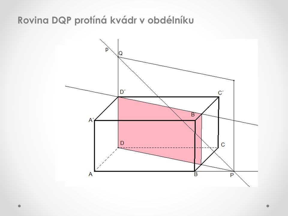 Rovina DQP protíná kvádr v obdélníku
