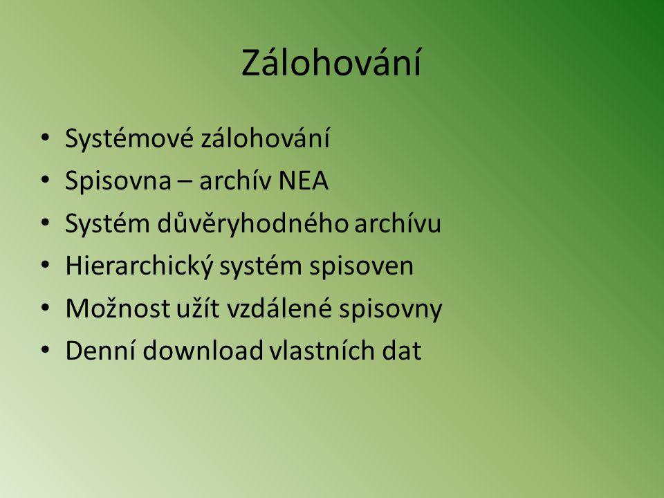 Zálohování Systémové zálohování Spisovna – archív NEA