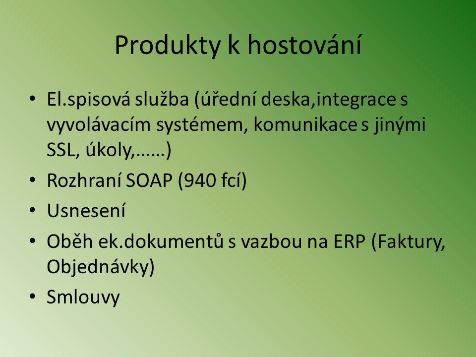 Produkty k hostování El.spisová služba (úřední deska,integrace s vyvolávacím systémem, komunikace s jinými SSL, úkoly,……)