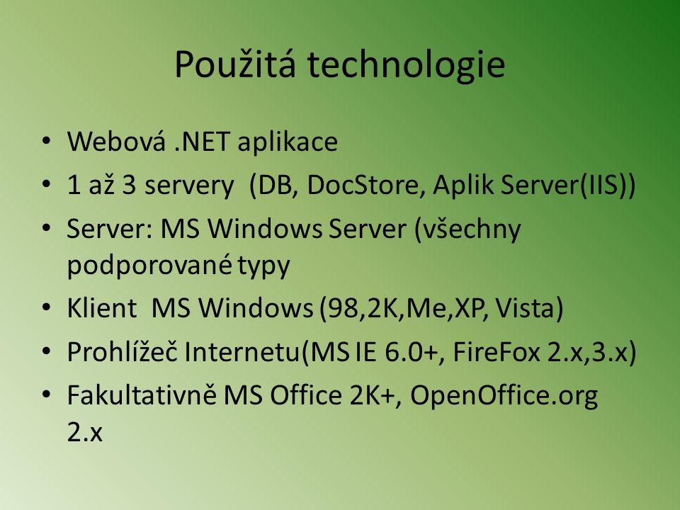 Použitá technologie Webová .NET aplikace