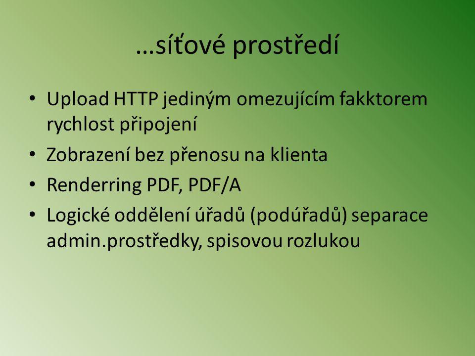 …síťové prostředí Upload HTTP jediným omezujícím fakktorem rychlost připojení. Zobrazení bez přenosu na klienta.