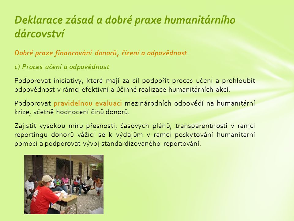 Deklarace zásad a dobré praxe humanitárního dárcovství
