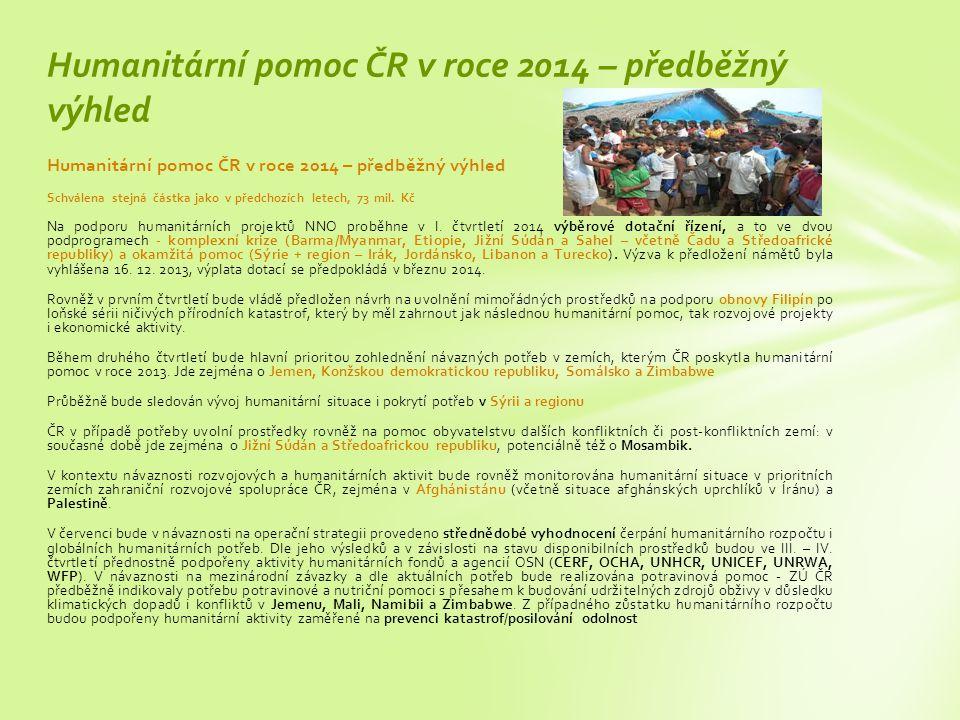 Humanitární pomoc ČR v roce 2014 – předběžný výhled