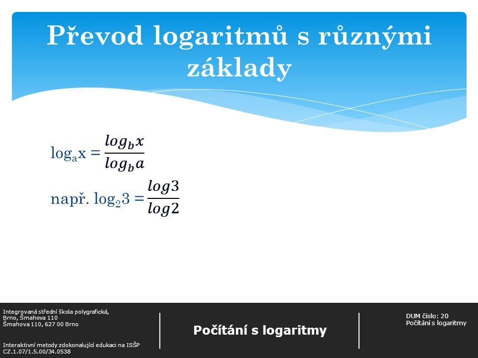 Převod logaritmů s různými základy