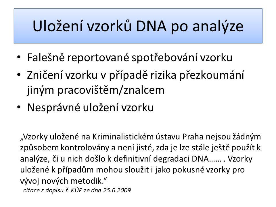 Uložení vzorků DNA po analýze
