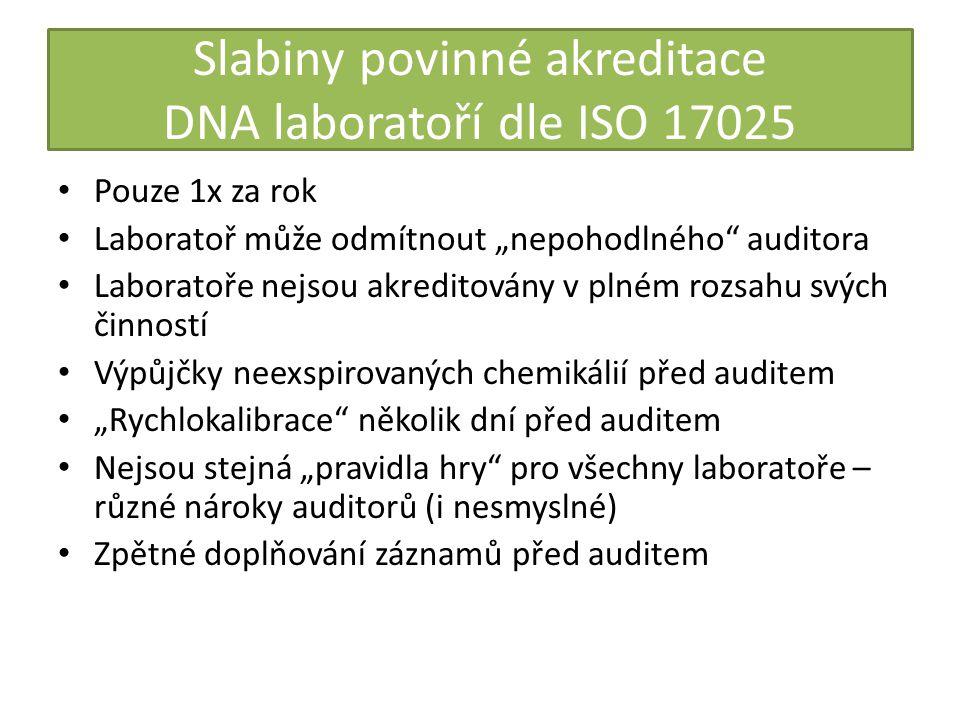 Slabiny povinné akreditace DNA laboratoří dle ISO 17025
