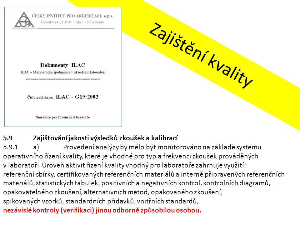 Zajištění kvality 5.9 Zajišťování jakosti výsledků zkoušek a kalibrací