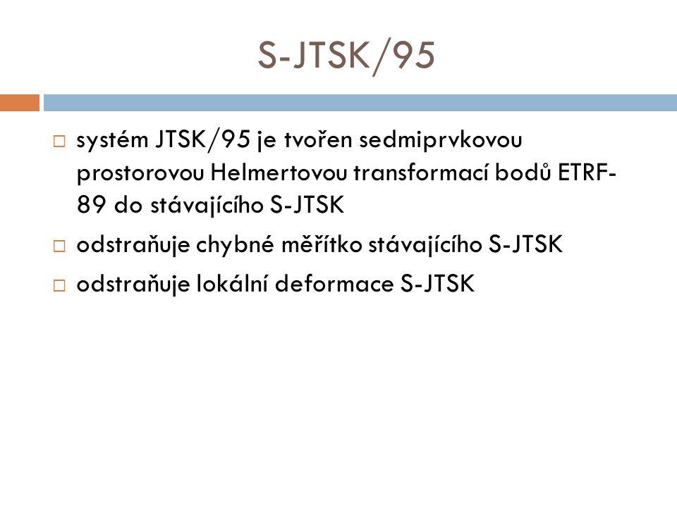 S-JTSK/95 systém JTSK/95 je tvořen sedmiprvkovou prostorovou Helmertovou transformací bodů ETRF- 89 do stávajícího S-JTSK.