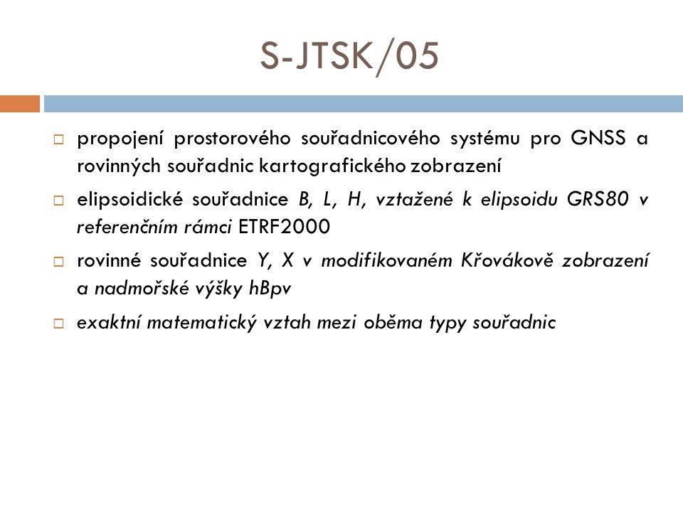 S-JTSK/05 propojení prostorového souřadnicového systému pro GNSS a rovinných souřadnic kartografického zobrazení.