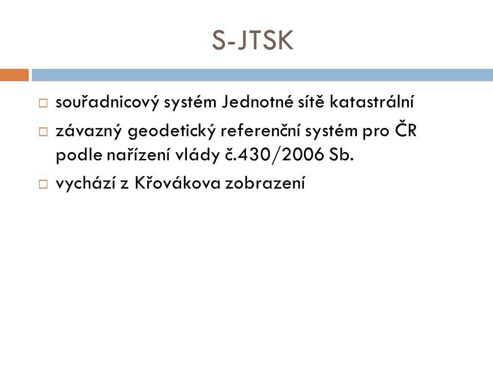S-JTSK souřadnicový systém Jednotné sítě katastrální