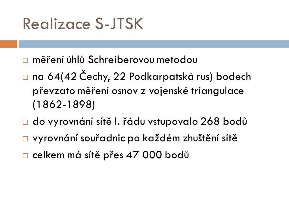 Realizace S-JTSK měření úhlů Schreiberovou metodou