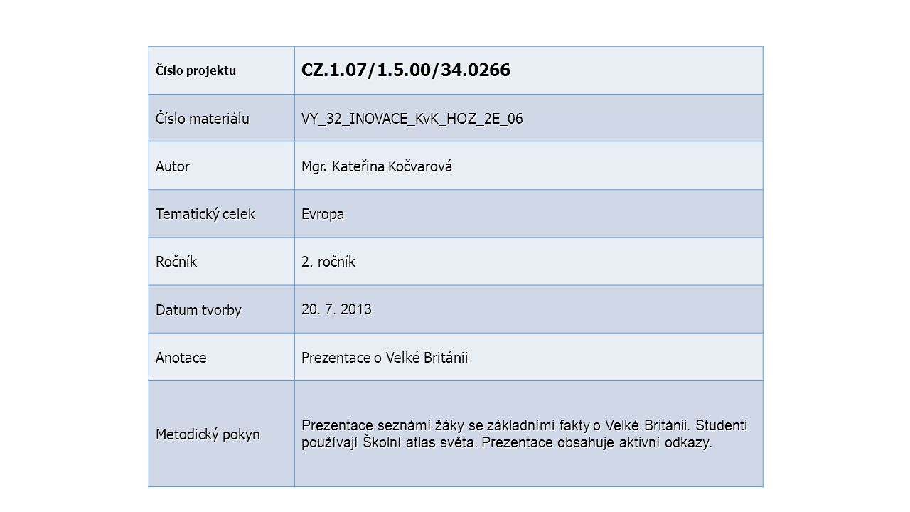CZ.1.07/1.5.00/34.0266 Číslo materiálu VY_32_INOVACE_KvK_HOZ_2E_06