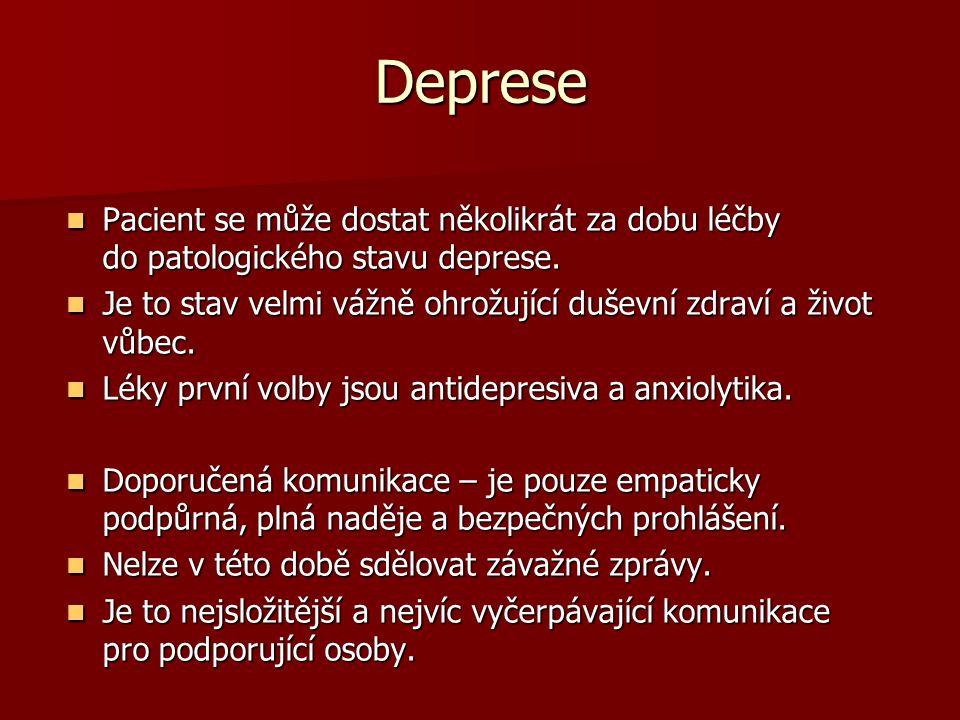 Deprese Pacient se může dostat několikrát za dobu léčby do patologického stavu deprese.