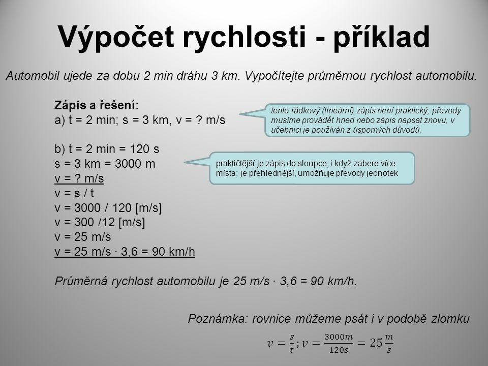 Výpočet rychlosti - příklad