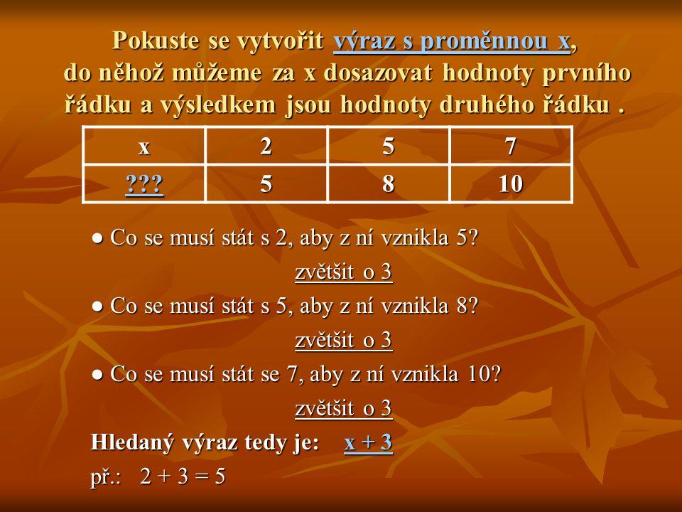 Pokuste se vytvořit výraz s proměnnou x, do něhož můžeme za x dosazovat hodnoty prvního řádku a výsledkem jsou hodnoty druhého řádku .
