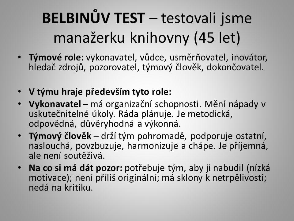 BELBINŮV TEST – testovali jsme manažerku knihovny (45 let)