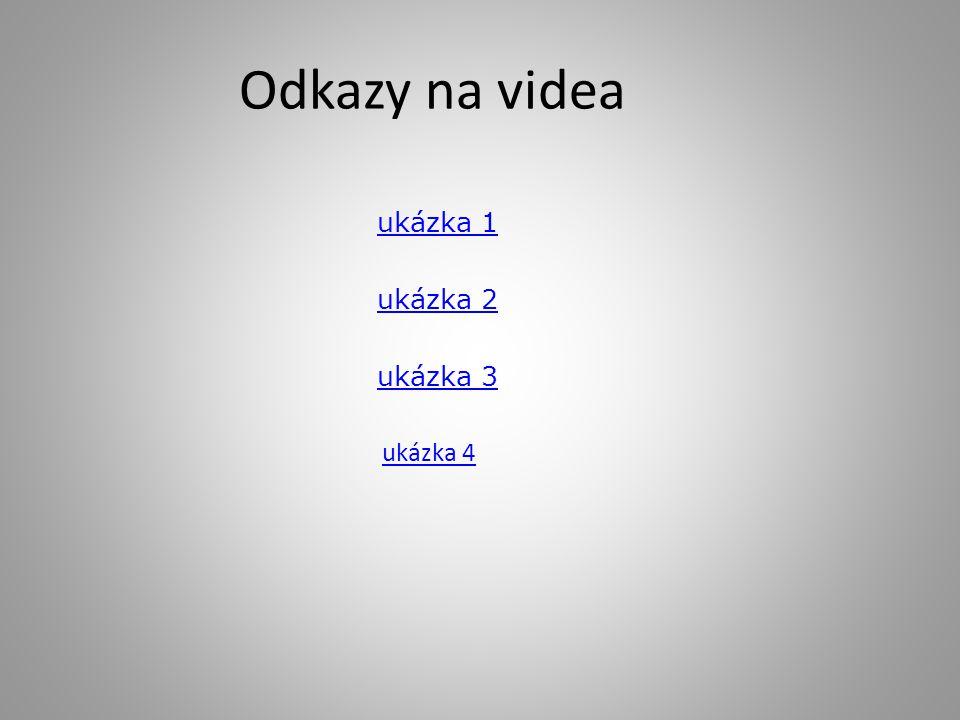 Odkazy na videa ukázka 1 ukázka 2 ukázka 3 ukázka 4