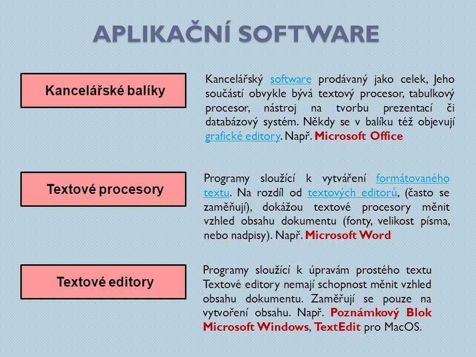 Aplikační software Kancelářské balíky Textové procesory