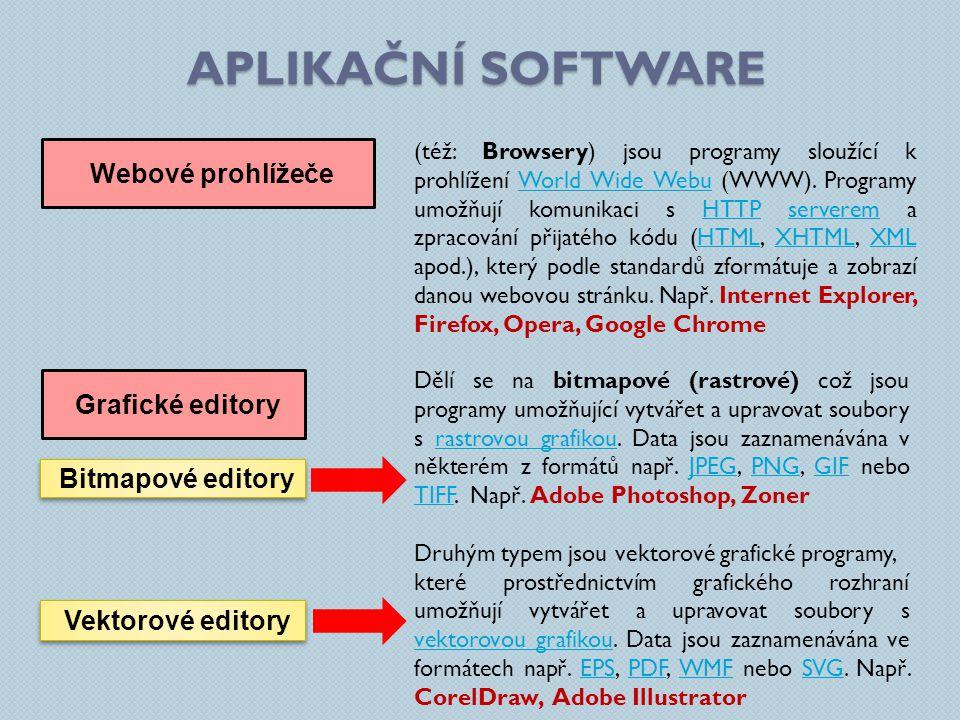 Aplikační software Webové prohlížeče Grafické editory