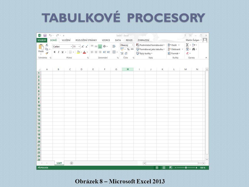 Tabulkové procesory Obrázek 8 – Microsoft Excel 2013