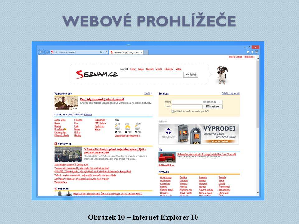 Webové prohlížeče Obrázek 10 – Internet Explorer 10