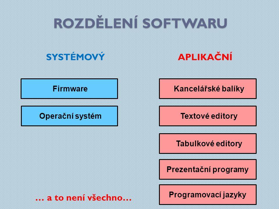 ROZDĚLENÍ SOFTWARU SYSTÉMOVÝ APLIKAČNÍ … a to není všechno… Firmware