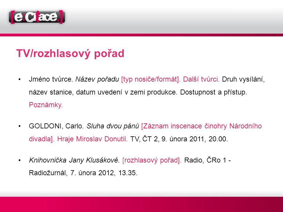 TV/rozhlasový pořad