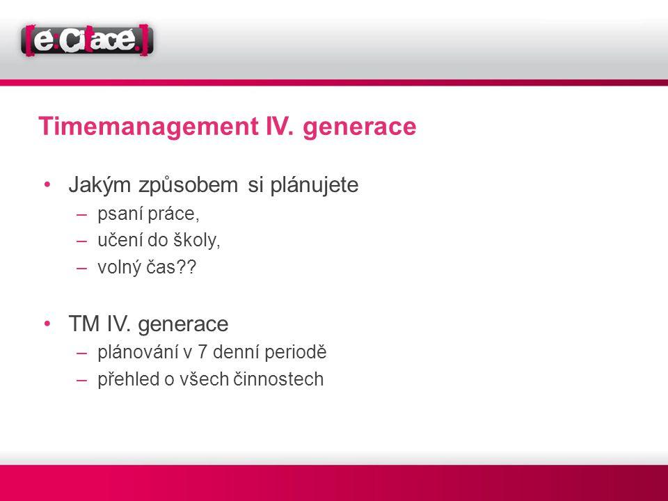 Timemanagement IV. generace