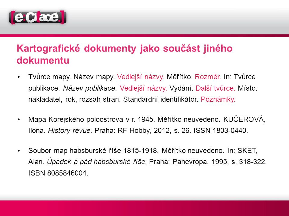 Kartografické dokumenty jako součást jiného dokumentu
