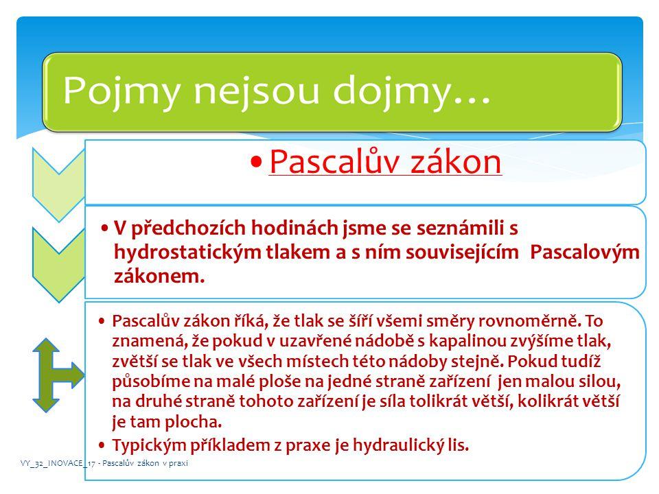 Pascalův zákon V předchozích hodinách jsme se seznámili s hydrostatickým tlakem a s ním souvisejícím Pascalovým zákonem.
