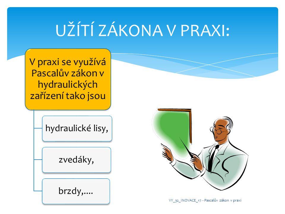 V praxi se využívá Pascalův zákon v hydraulických zařízení tako jsou