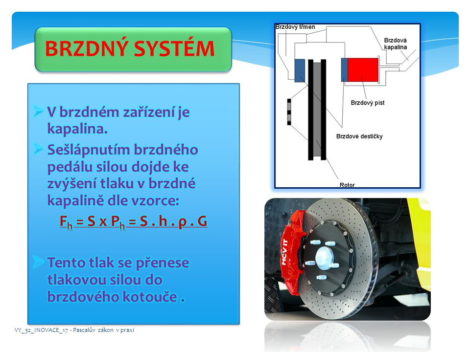 BRZDNÝ SYSTÉM V brzdném zařízení je kapalina.