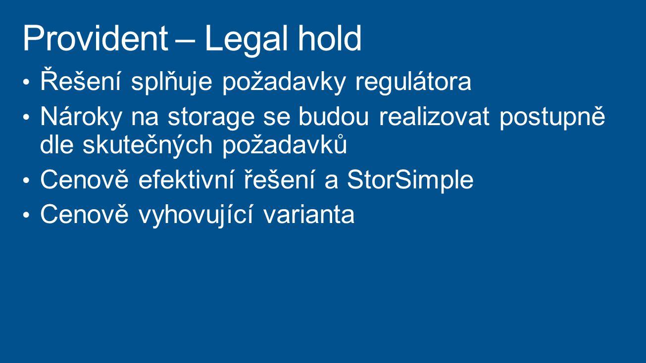 Provident – Legal hold Řešení splňuje požadavky regulátora