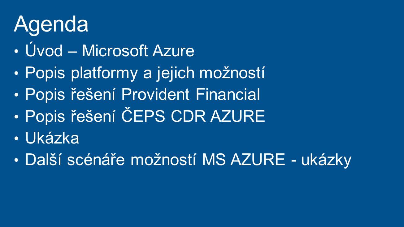 Agenda Úvod – Microsoft Azure Popis platformy a jejich možností