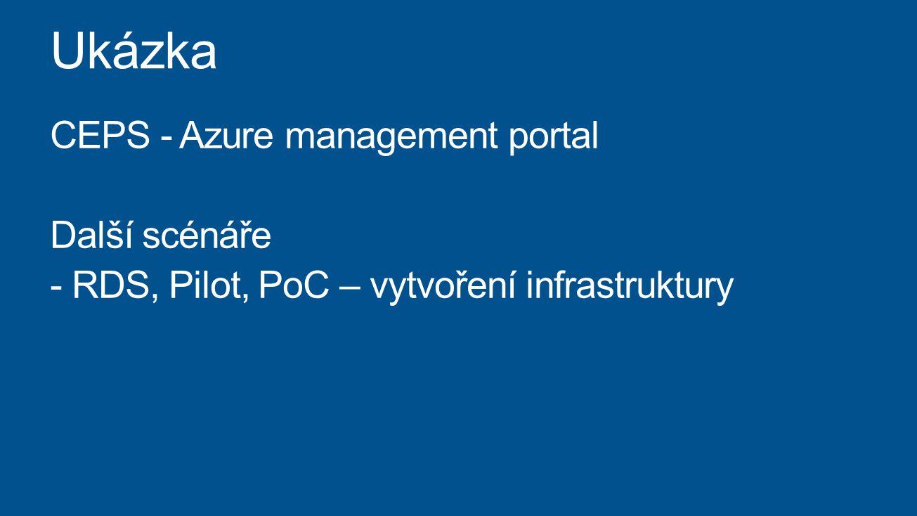 Ukázka CEPS - Azure management portal Další scénáře