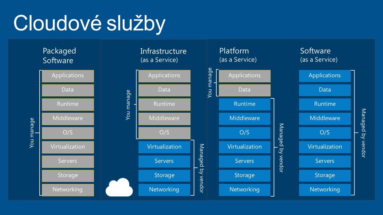 Cloudové služby Packaged Software Infrastructure Platform Software