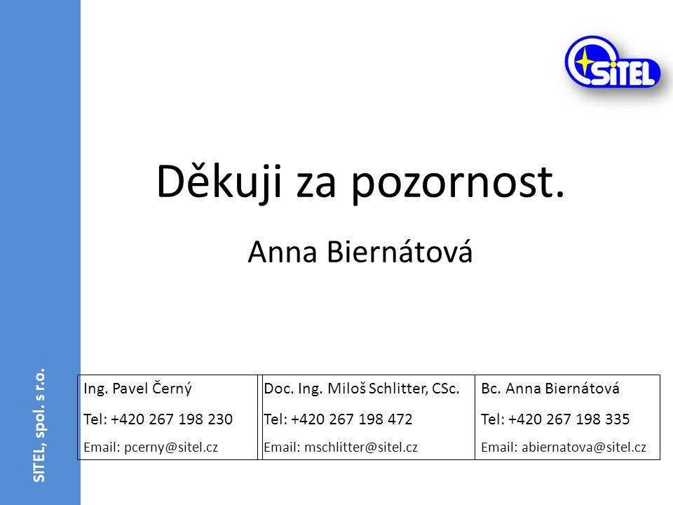 Děkuji za pozornost. Anna Biernátová SITEL, spol. s r.o.