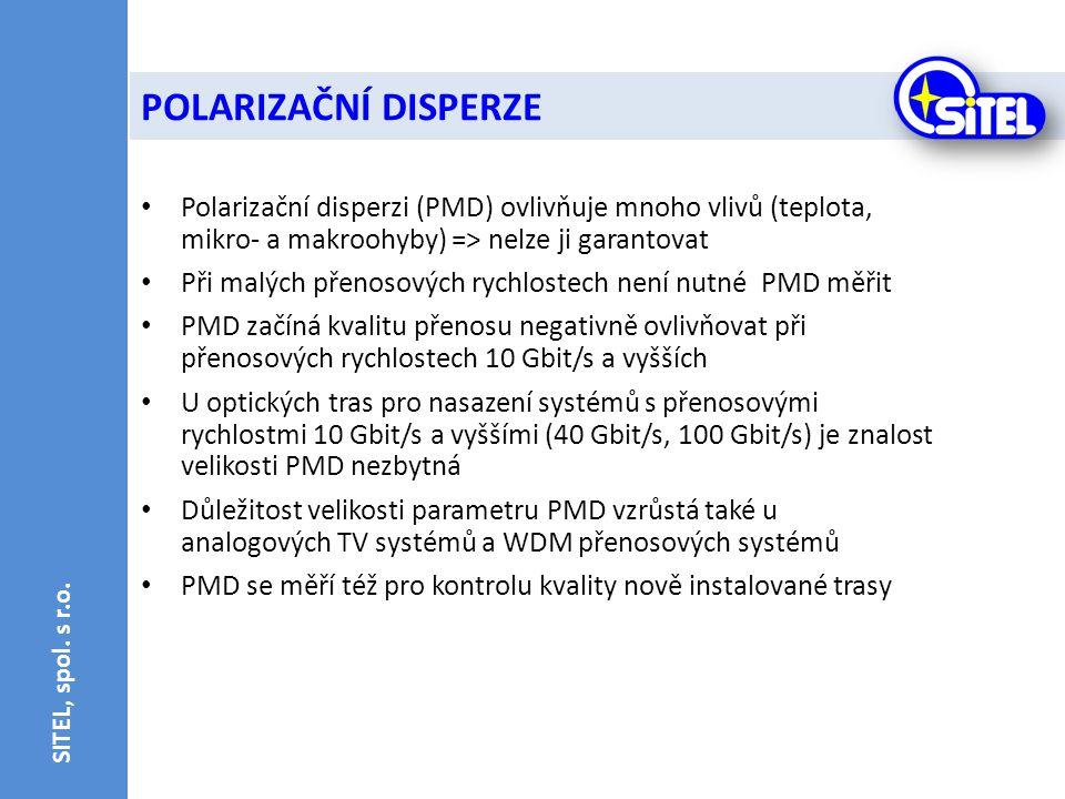 POLARIZAČNÍ DISPERZE SITEL, spol. s r.o. Polarizační disperzi (PMD) ovlivňuje mnoho vlivů (teplota, mikro- a makroohyby) => nelze ji garantovat.