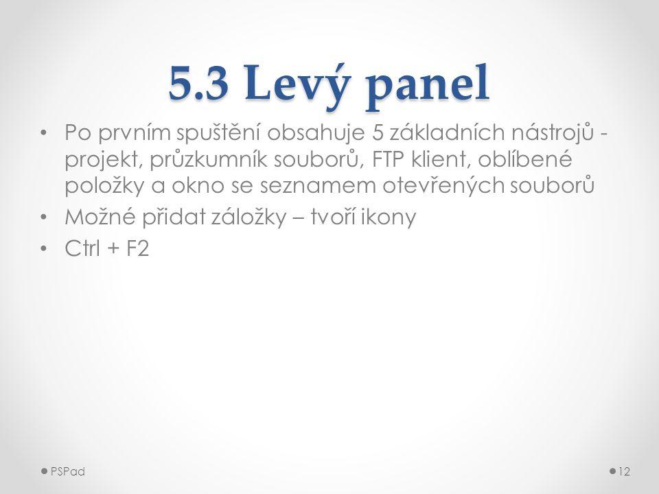 5.3 Levý panel