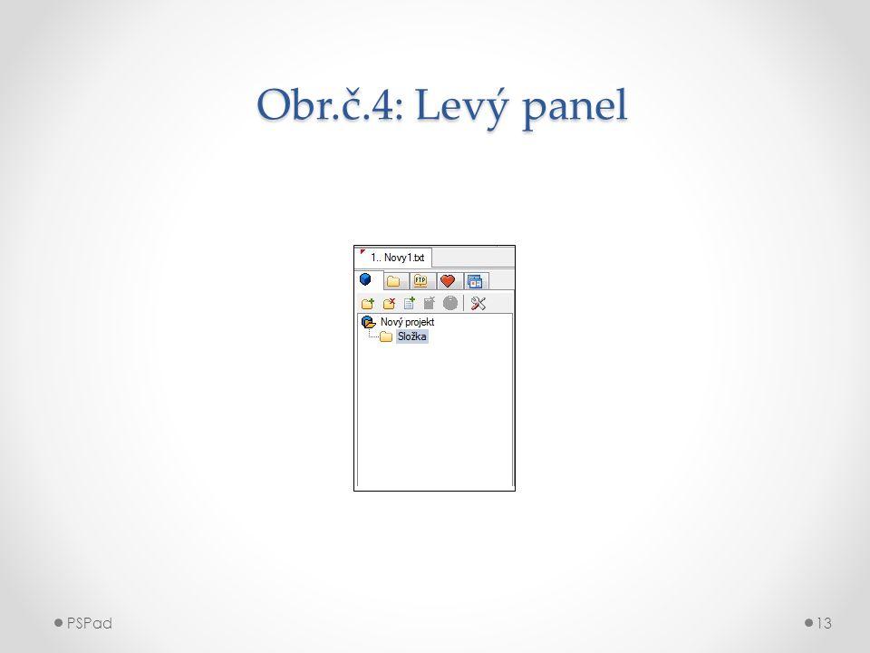 Obr.č.4: Levý panel Obr.č.4: Levý panel