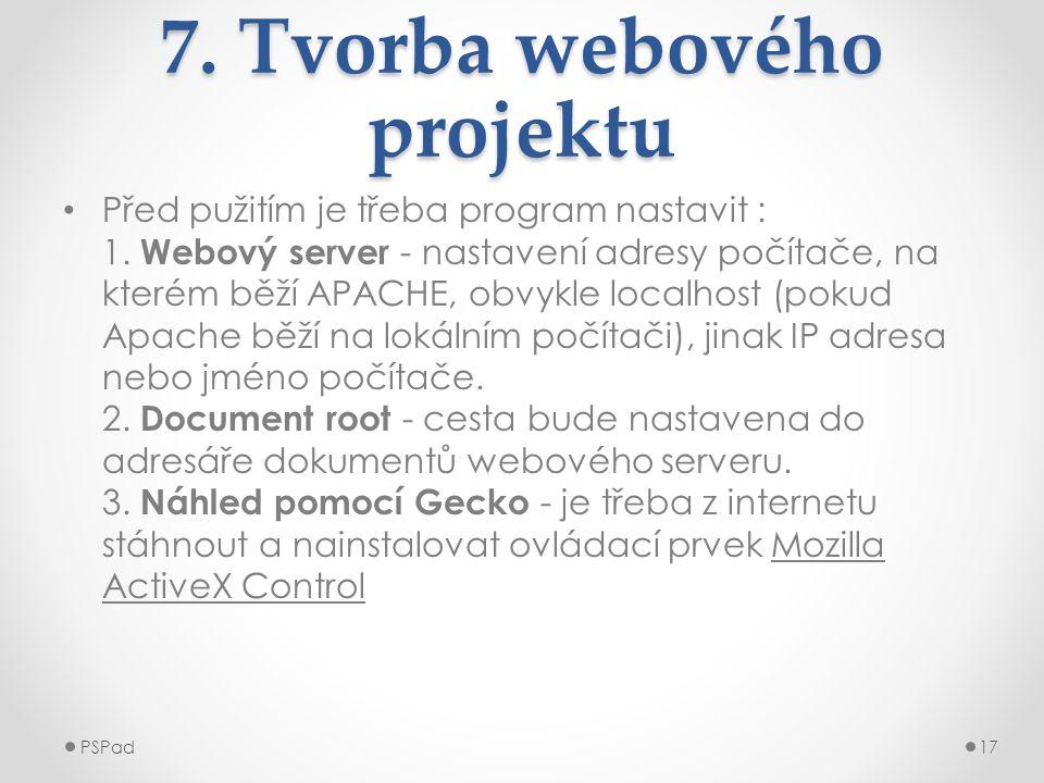 7. Tvorba webového projektu